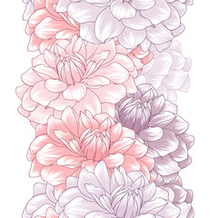 Abstract seamless hand drawn floral pattern with dahlias flowers. Vector illustration. Element for design.