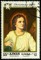 "Painting ""Young Jesus in the temple"" by Heinrich Hofmann on postage stamp"