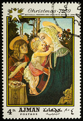 """Painting """"Madonna with child and St. John"""" by Botticelli on postage stamp"""