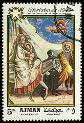 """Painting """"Flight into Egypt"""" by Giotto on postage stamp"""