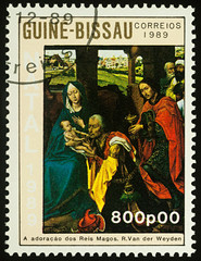 """Painting """"Adoration of the Magi"""" by Rogier van der Weyden on postage stamp"""