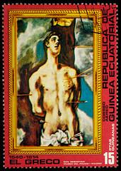 "Painting ""Sebastian"" by El Greco on postage stamp"