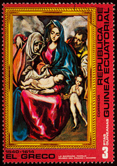"""Painting """"Holy Family"""" by El Greco on postage stamp"""