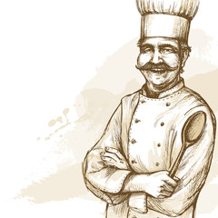Smiling and happy chef. Vector hand drawn illustration on artistic watercolor background.