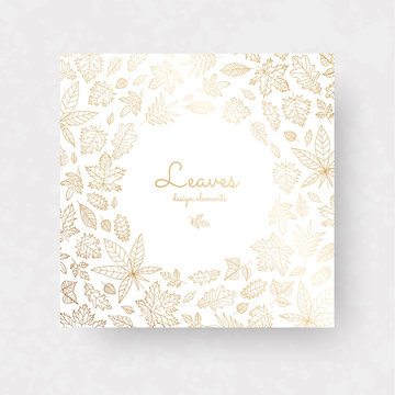 Gold autmun leaves. Ornate decor for invitations, wedding greeting cards, certificate, labels.