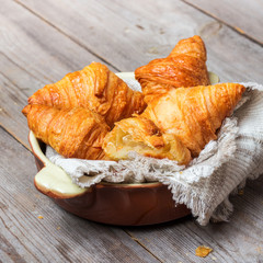 Fresh croissants on a table for breakfast