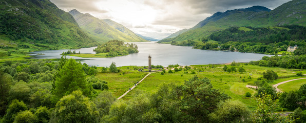 Glenfinnan Monument, at the head of Loch Shiel, Inverness-shire, Scotland. Wall mural