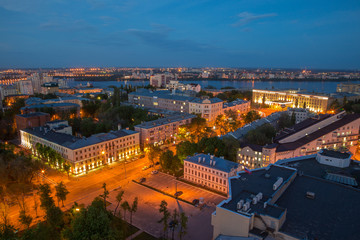 Evening summer cityscape from rooftop. Voronezh downtown