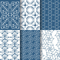 Set of 6 seamless lace patterns. White, blue geometrical patterns in Arabic style