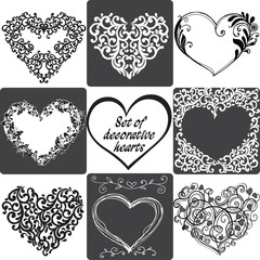 Collection of greeting cards with hearts. Vector illustration