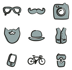 Hipster Icons Freehand 2 Color
