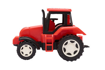 red toy Tractor Isolated on white background
