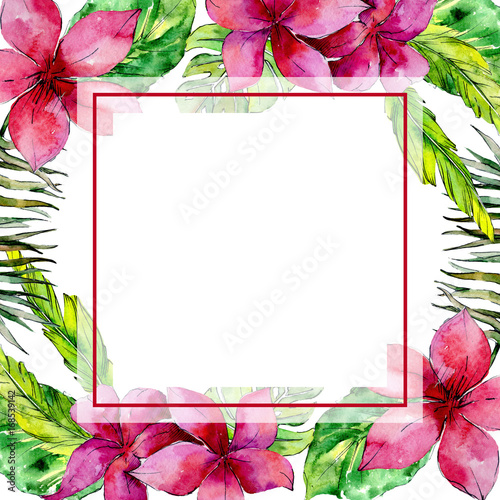 Tropical Hawaii leaves palm tree frame in a watercolor style ...