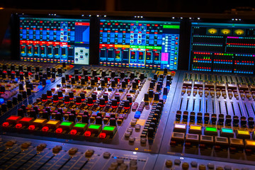 Fototapeta Mixer. Remote control for sound recording. Sound producer at the concert. Equipment for concerts. obraz