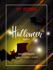 Happy Halloween banner with light effect. Party invitation. Abstract background with bats. Vector illustration.
