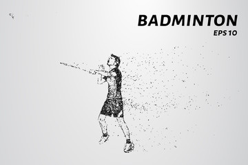 Badminton consists of particles. Badminton player preparing to receive serve. Vector illustration.