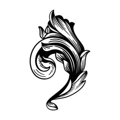 Vintage Baroque Victorian Scroll Swirl Acanthus Filigree Flourish Heraldry Motif