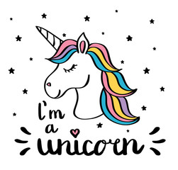 I m a unicorn handwriting text drawing isolated on white
