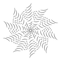 Circular black and white line pattern. vector illustration.