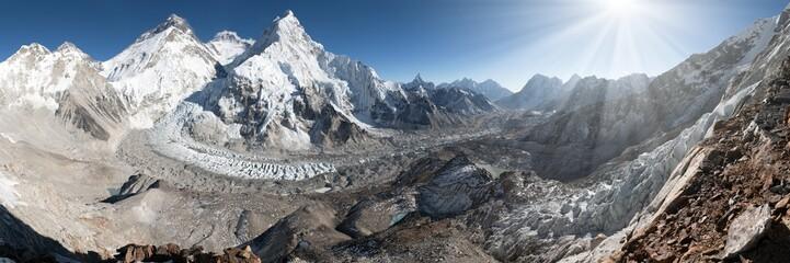 mount Everest, Lhotse and nuptse from Pumo Ri base camp