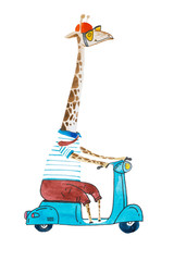 Watercolor cartoon giraffe dressed up in t-shit and trousers wearing helmet and sunglasses riding a scooter