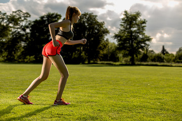 Running concept with young sportswomen