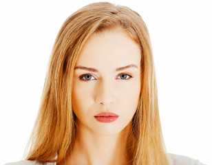 Portrait of beautiful casual serious woman.