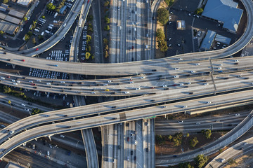 Aerial of Harbor 110 and Santa Monica 10 freeway interchange in downtown Los Angeles, California.