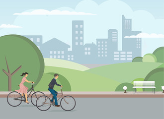 The icon of cyclists. The pair is riding the bike. The man and woman is riding the bike.  City biking. Person rides bike. The elements of transport infrastructure. The concept of active life.