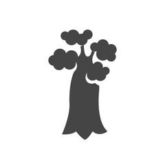 Baobab tree icon. Vector logo on white background