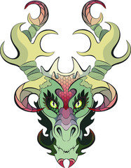 Green Nature Dragon Face