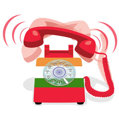 Ringing red stationary phone with rotary dial and with flag of India