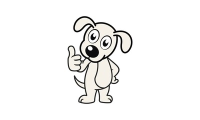 Pet, Dog, Liitle Dog Vector, Thumbs Up Dog Vector