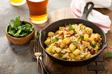 Aluminium Prints Ready meals Fall side dish with fried cabbage, potatoes and bacon