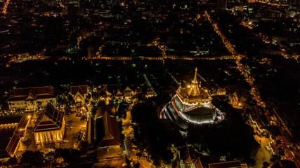 'Golden Mountain '  Wat Saket Ratcha Wora Maha Wihan popular Bangkok tourist attraction , Landmarks of bangkok Thailand .  top view