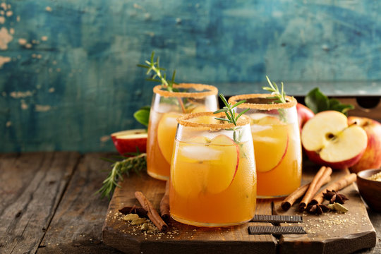 Hard apple cider cocktail with fall spices