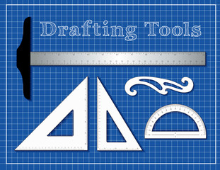 Drafting Tools for Architecture, Engineers, Science and Math, T square, 45 degree triangle, 60 degree triangle, French Curve, protractor, blueprint background.