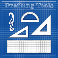 Drafting Tools for Architecture, Engineers, Science and Math, 45 degree triangle, 60 degree triangle, ruler, French Curve, protractor blueprint background.