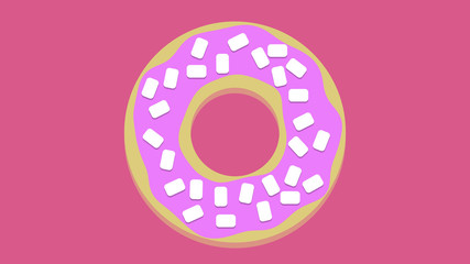 Cute Donut graphic unhealthy food concept background pink