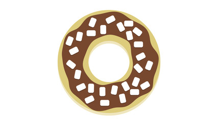 Cute Donut graphic unhealthy food concept background brown chocolate