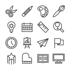 creative idea study workshop line icon set vector