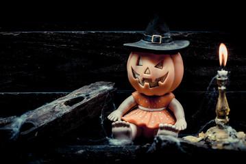 Halloween pumpkin, trick or treat scene