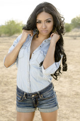 Beautiful young woman wearing denim shirt and shorts