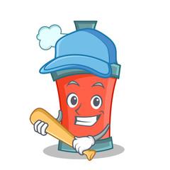 Playing baseball aerosol spray can character cartoon