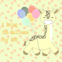 Giraffe Brings Balloons