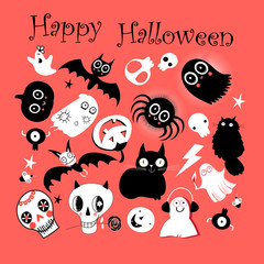 Vector set of different objects for Hallowee