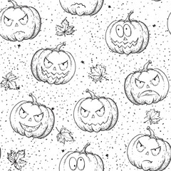 Halloween seamless pattern. Vector background with many pumpkins at doodle style