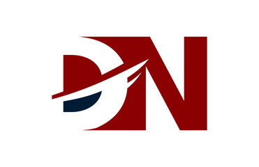 DN Red Negative Space Square Swoosh Letter Logo