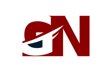 GN Red Negative Space Square Swoosh Letter Logo