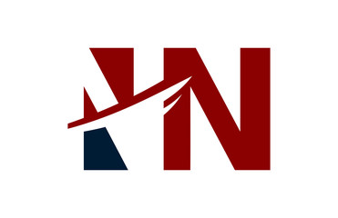 NN Red Negative Space Square Swoosh Letter Logo